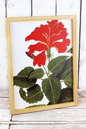 16 x 12 Red Bloom Wood Framed Botanical Wall Art