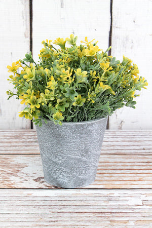 Artificial Yellow Potted Flowers, 7.25""