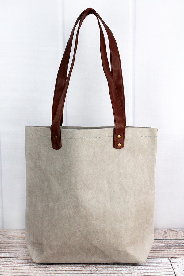 Beige Washable Paper Tote with Faux Leather Handles