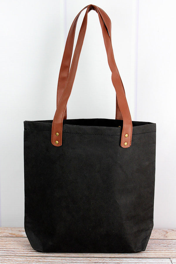 Black Washable Paper Tote with Faux Leather Handles