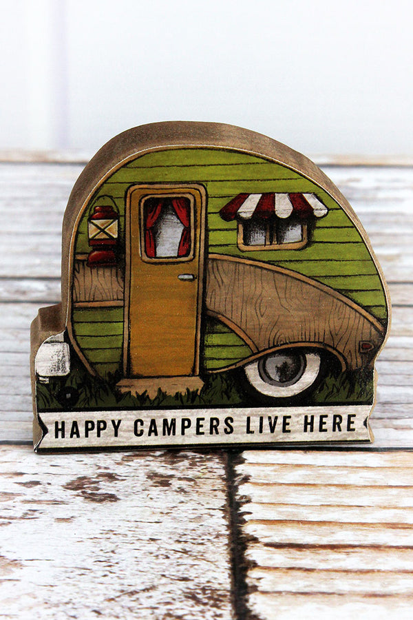 3.5 x 4 'Happy Campers Live Here' Wood Camper Tabletop Sign
