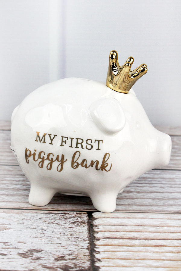 4.25 x 5 White Ceramic My First Piggy Bank
