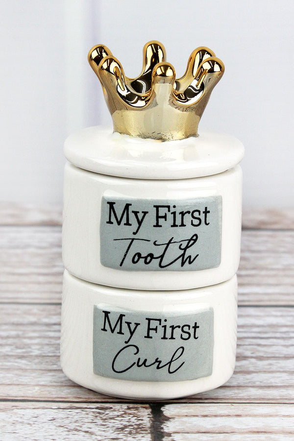 5 x 2.5 Ceramic Baby's First Tooth and Curl Keepsake Box