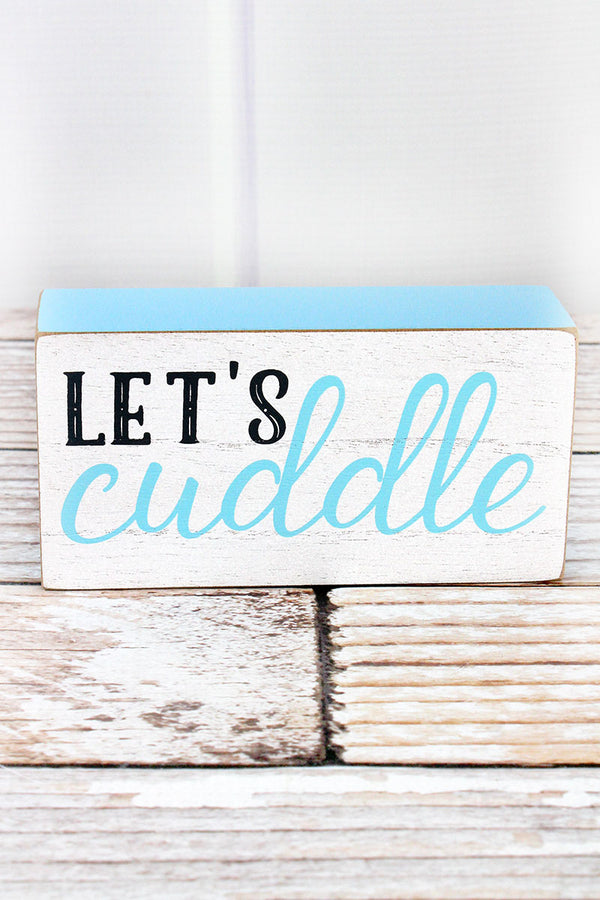 3 x 6 'Let's Cuddle' Blue Baby Block Sign