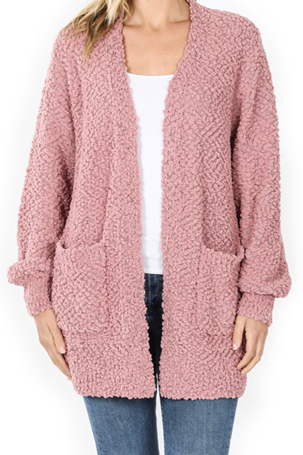 Light Rose Puff Sleeve Popcorn Pocket Cardigan