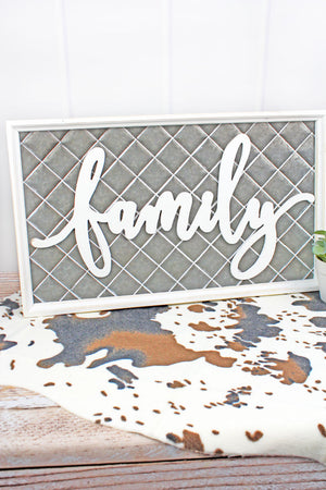 13.75 x 23.25 'Family' Wood Framed Quilted Tin Wall Sign