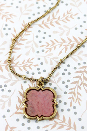 Crave Goldtone and Pink Mother of Pearl Quatrefoil Necklace