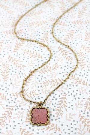 Goldtone and Pink Mother of Pearl Quatrefoil Necklace