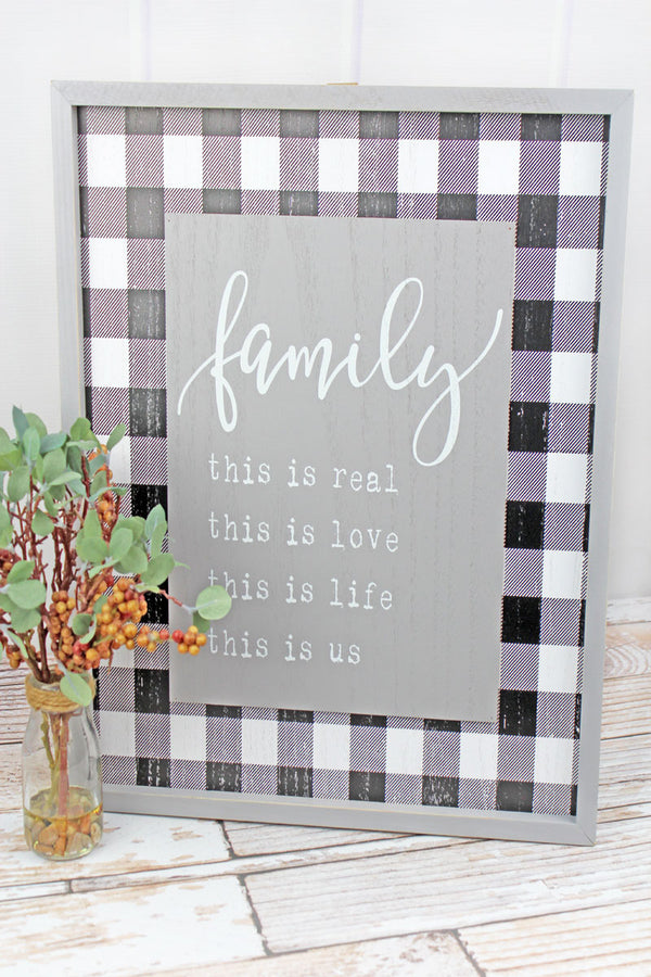 19.5 x 16.25 'Family' Wood Framed Plaid Wall Sign