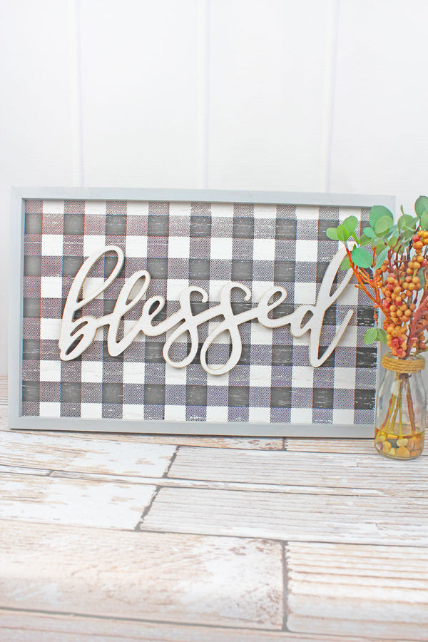 12.25 x 19.5 'Blessed' Wood Framed Plaid Wall Sign