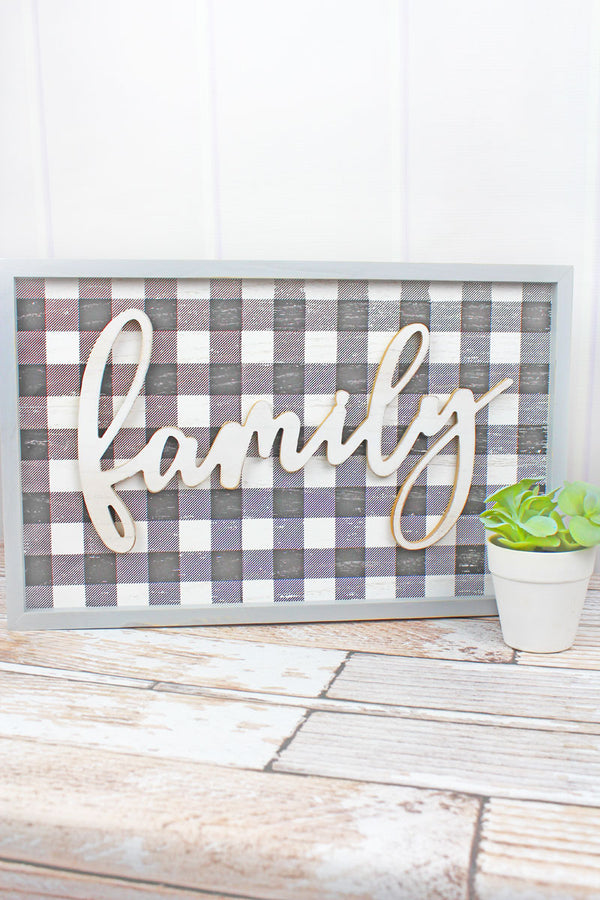 12.25 x 19.5 'Family' Wood Framed Plaid Wall Sign