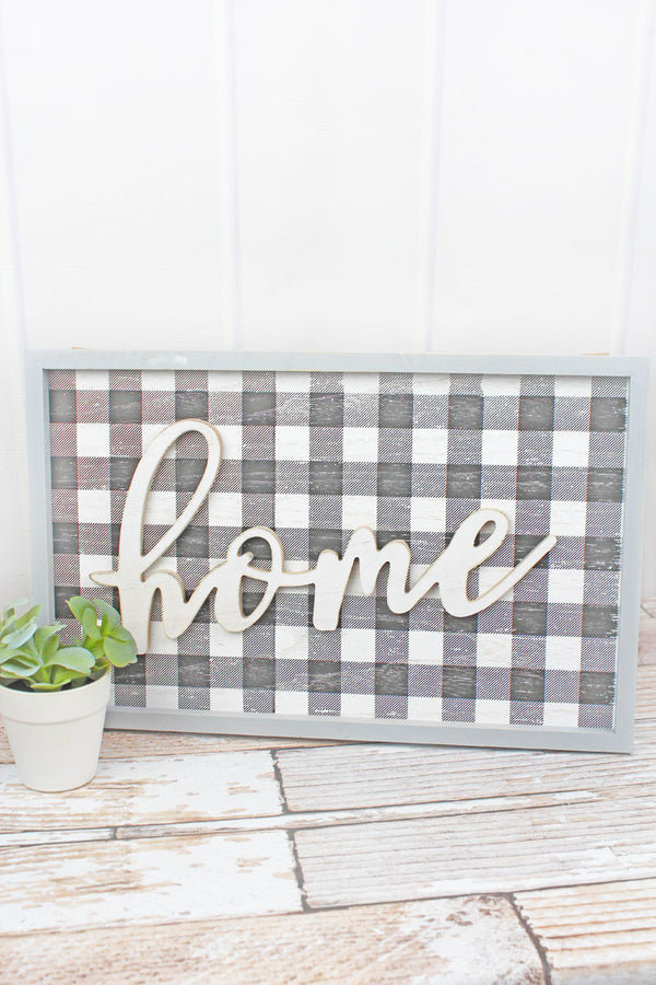 12.25 x 19.5 'Home' Wood Framed Plaid Wall Sign