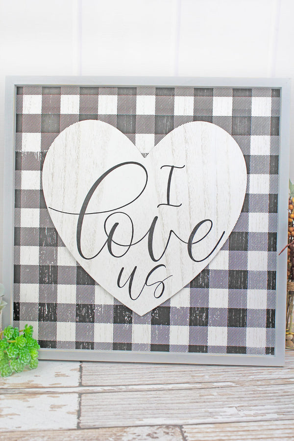 18 x 18 'I Love Us' Heart Wood Framed Plaid Wall Sign