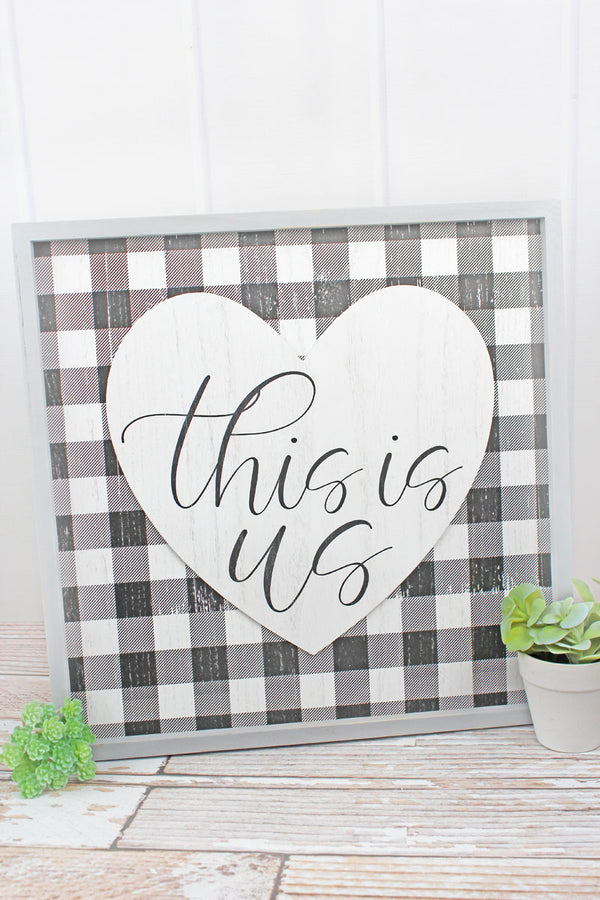 18 x 18 'This Is Us' Heart Wood Framed Plaid Wall Sign
