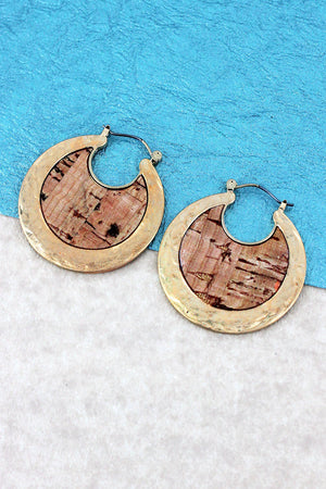 Crave Goldtone and Cork Crescent Hoop Earrings