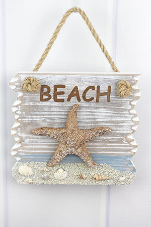 8 x 8.75 'Beach' Starfish Wood Wall Sign