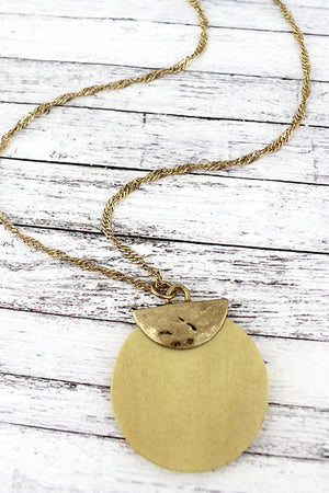 Crave Goldtone Half Moon and Ivory Wood Disk Necklace