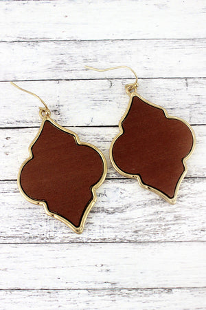 Crave Brown Wood and Goldtone Moroccan Earrings