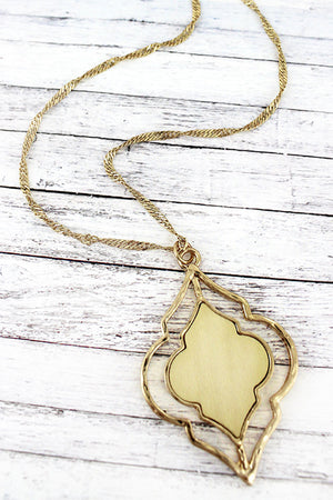 Crave Goldtone and Ivory Wood Moroccan Necklace