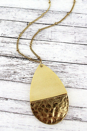 Crave Ivory Wood and Hammered Goldtone Teardrop Necklace