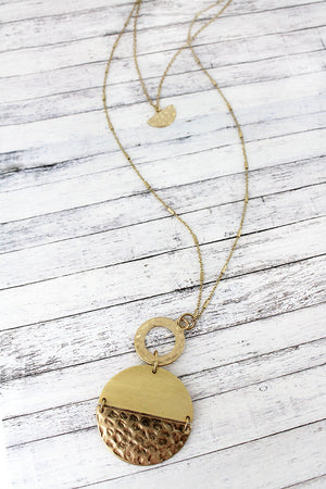 Crave Layered Ivory Wood and Goldtone Split Disk Necklace