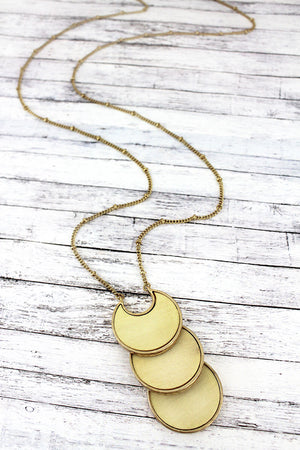 Crave Ivory Wood and Goldtone Tiered Crescent Disk Necklace