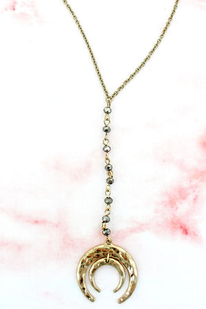 PICTURE IS WRONG - Crave Beaded Goldtone Layered Double Horn Y Necklace