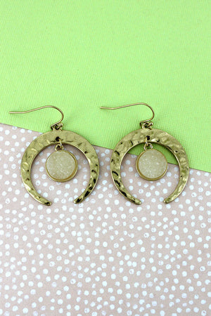 Crave Goldtone Double Horn with Druzy Disk Charm Earrings