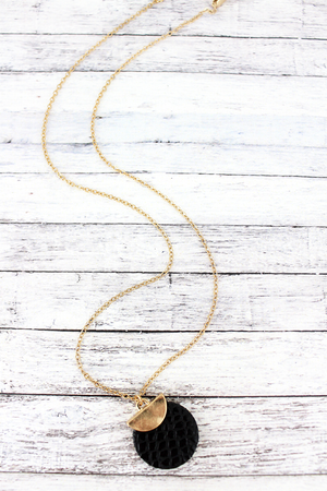 Crave Goldtone Half Moon and Black Python Disk Necklace