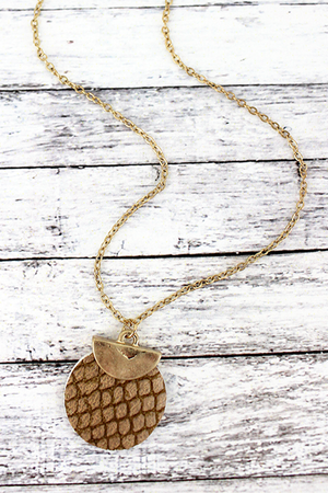 Crave Goldtone Half Moon and Brown Python Disk Necklace