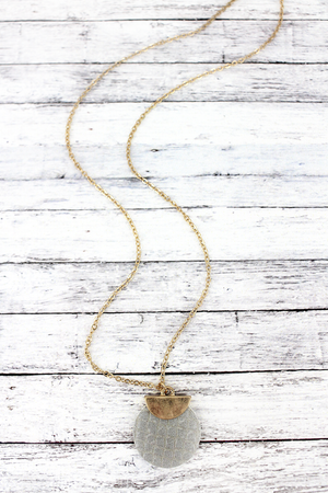 Crave Goldtone Half Moon and Gray Python Disk Necklace
