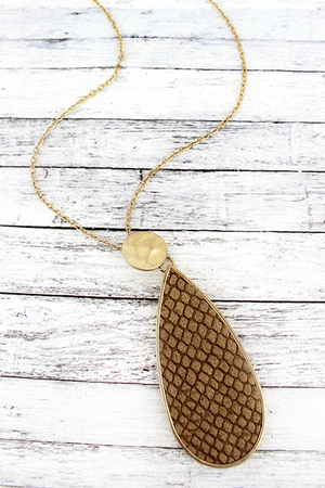Crave Goldtone Disk and Brown Python Teardrop Necklace