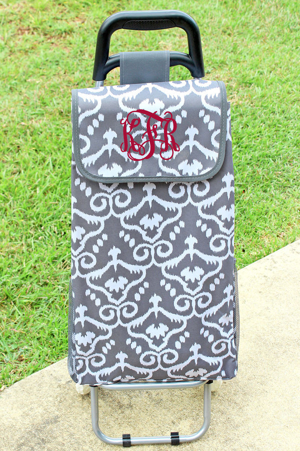 Damask Haze and Gray Rolling Shopper Tote