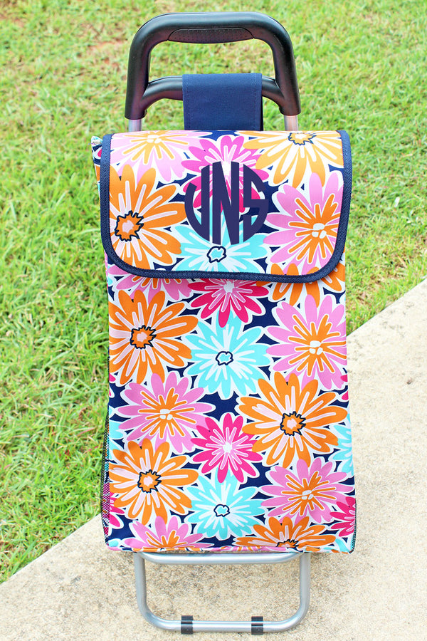 Vibrant Flowers and Navy Rolling Shopper Tote