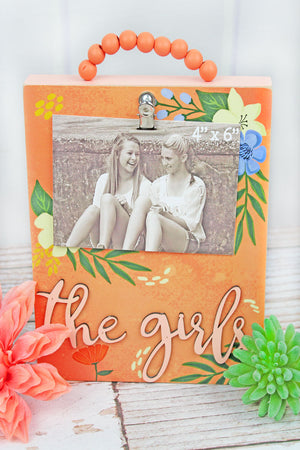 9.5 x 8 'The Girls' Floral Wood Beaded Hanger 4x6 Photo Display