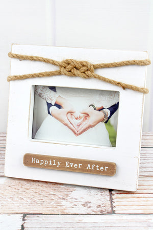 8.5 x 9 'Happily Ever After' Wood with Love Knot 4x6 Photo Frame