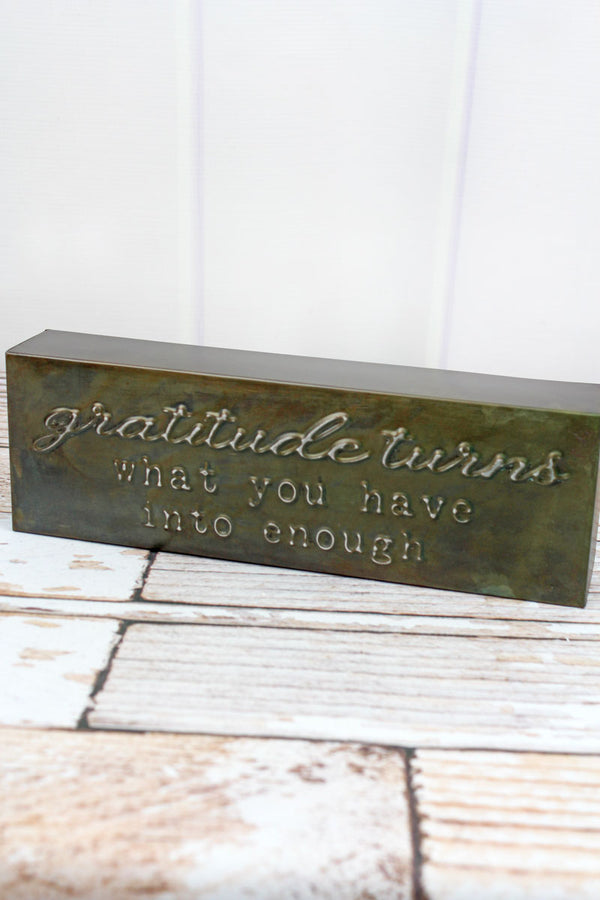 4 x 12 'Gratitude' Punched Metal Block Sign