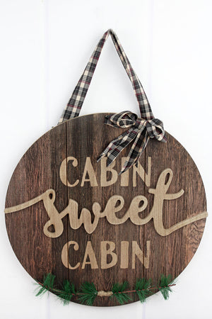 15.5 x 15.5 'Cabin Sweet Cabin' Round Wood Sign
