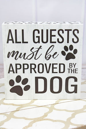 8 x 8 'Approved By The Dog' Wood Box Sign