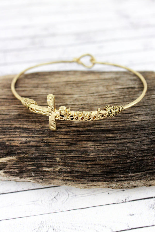 Crave Worn Goldtone 'Blessed' Script Cross Bangle