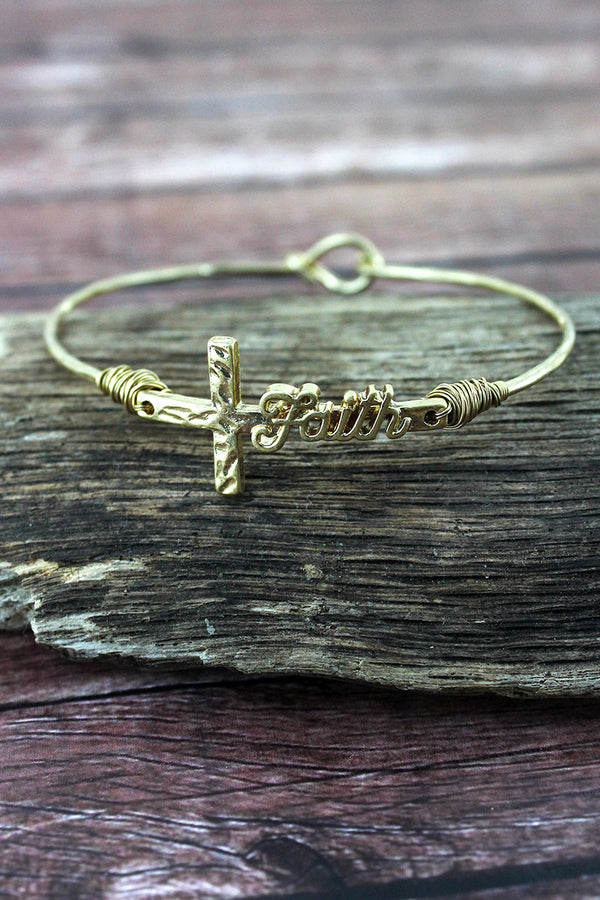 Crave Worn Goldtone 'Faith' Script Cross Bangle