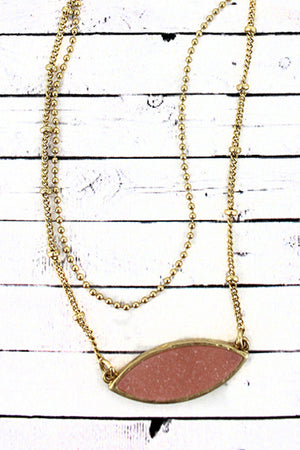 Crave Goldtone and Pink Druzy Marquise Layered Necklace