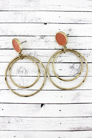 Crave Pink Druzy Disk Orbital Hoop Earrings
