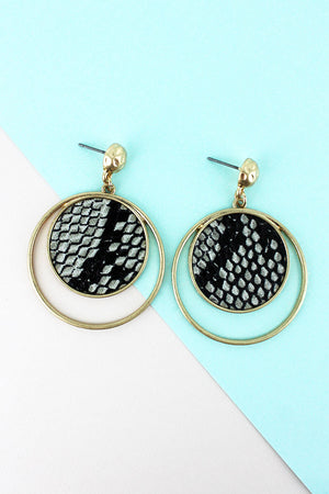 Crave Goldtone and Gray Snakeskin Orbital Disk Earrings
