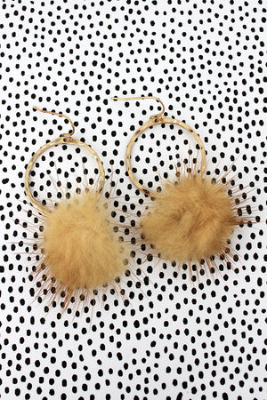 Crave Goldtone Ring and Brown Faux Fur Puff Ball Earrings