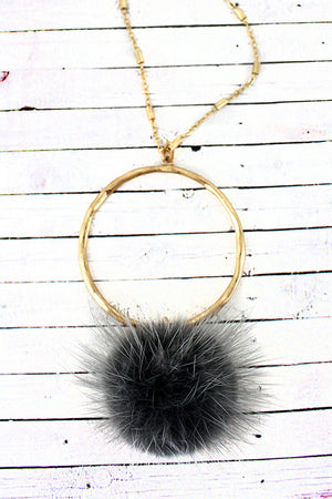 Crave Goldtone Ring and Gray Faux Fur Puff Ball Necklace
