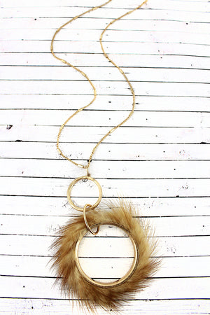 Crave Brown Faux Fur Fringed Goldtone Hoop Necklace