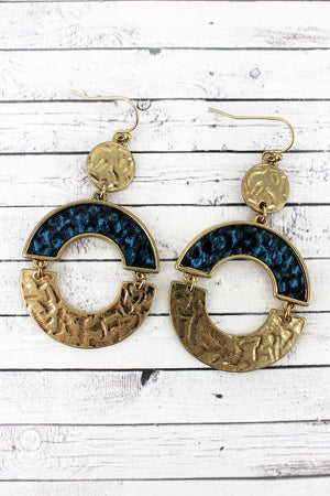 Crave Goldtone and Blue Snakeskin Hinged Circle Earrings
