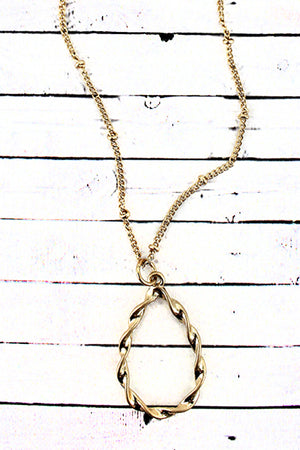 Crave Twisted Goldtone Teardrop Necklace
