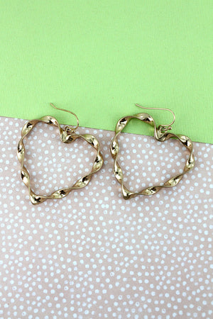 Crave Twisted Goldtone Heart Earrings, 1.75""
